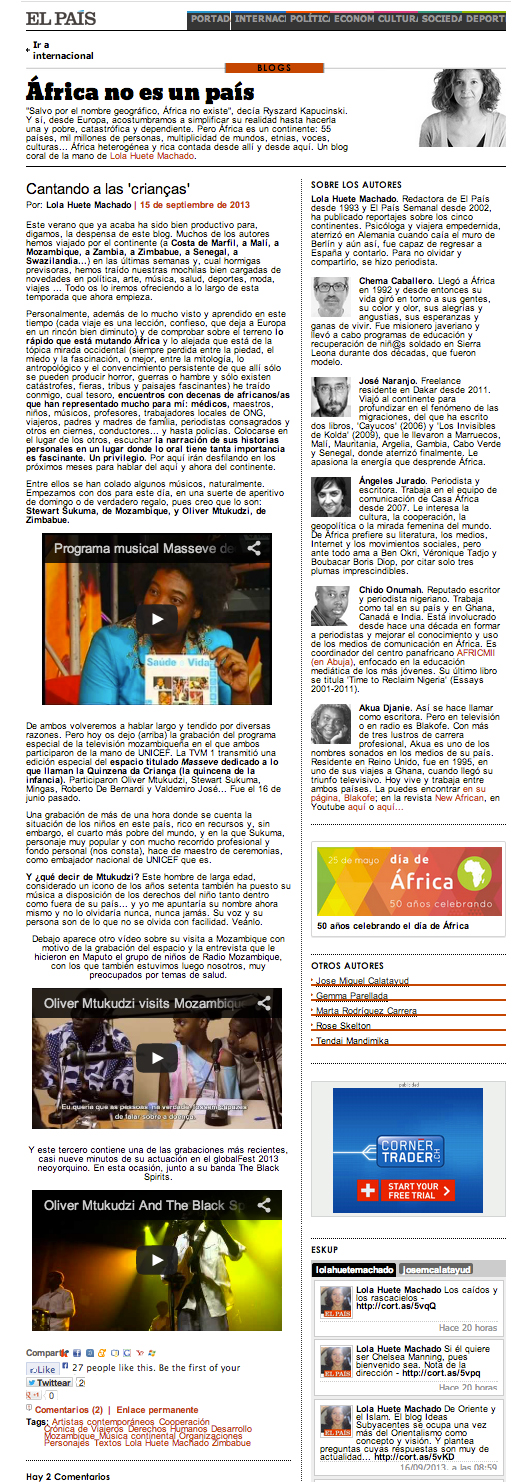 El Pais features Mtukudzi and Sukuma Video